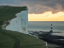 Beachy Head cliff and lighthouse, South Downs, England royalty free stock photos