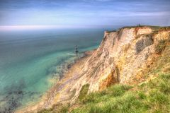Beachy Head England notorious suicide place in colourful HDR royalty free stock images