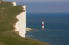 Beachy Head Lighthouse. In East Sussex, England - sadly a notorious suicide spot Royalty Free Stock Photos