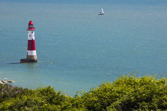 Beachy Head Lighthouse in East Sussex. A view of Beachy Head Lighthouse on the English Channel in East Sussex, UK royalty free stock image