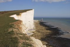 Beachy Head and lighthouse. Eastbourne. England. Chalk cliffs at Beachy Head near Eastbourne. East Sussex. England. With lighthouse under cliff on beach Royalty Free Stock Photo
