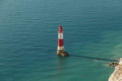 Beachy Kierownicza latarnia morska, Wschodni Sussex, UK obrazy stock