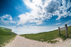 Beachy Kopf-Cliff Edge-fisheye Stockfoto