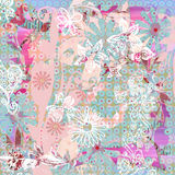 Beachy Tropical Bohemian Tapestry Scrapbook Background Stock Photos
