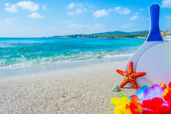 Beack rackets and sea star on the sand. In the summertime Stock Images