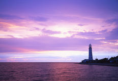 Beacon. On a background of the sea royalty free stock photography
