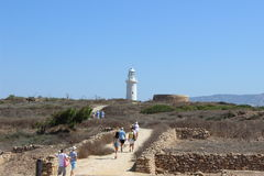 Beacon in the archeological park in Paphos. Old beacon in the archeological park in Paphos, Cyprus Royalty Free Stock Image