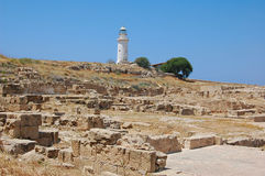 Beacon on a background of ruins in Paphos. Cyprus Stock Photo