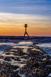 Beacon on Bridlington south beach Royalty Free Stock Photos