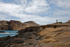 Beacon Capelinhos on island Faial, Azores Royalty Free Stock Image