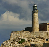 Beacon of capital of Cuba. View on beacon from quay Malecon on ocean and Havana city. Cuba island Stock Images