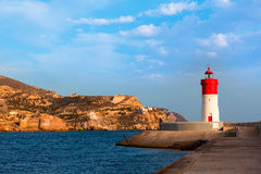 Beacon Cartagena lighthouse in Spain Royalty Free Stock Photo