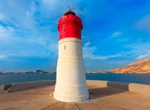Beacon Cartagena lighthouse in Spain Royalty Free Stock Photos