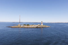 Beacon and communication tower on an island. In Finland Stock Image