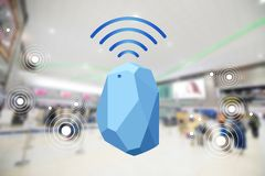 Beacon device home and office radar. Use for all situations. wit. H network connect signal graphic and blur background at the airport royalty free stock images