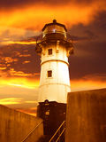 Beacon of Duluth Lighthouse at Sunrise. A lighthouse stands along the canal in Duluth, Minnesota along Lake Superior Stock Images