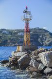 Port Harbor Light Beacon. Beacon at the entrance of the harbour in Kini Syros Stock Image