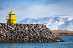 Beacon in the entrance to Reykjavik port Stock Photos