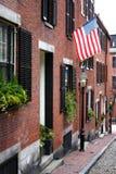 Beacon Hill é uma vizinhança rica de rowhouses do Federal-estilo, com alguns dos valores da propriedade os mais altos no Estados  Fotos de Stock Royalty Free