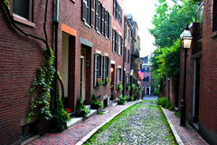 Beacon Hill, Boston. Beacon Hill is a wealthy neighborhood of Federal-style rowhouses, with some of the highest property values in the United States Royalty Free Stock Photography