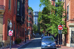 Beacon Hill Boston Massachusetts. Boston, Massachusetts, USA - September 12, 2016: One of the many narrow streets located on Boston`s Beacon Hill district in Royalty Free Stock Photos