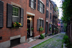 Beacon Hill, Boston, Massachusetts, USA. Beacon Hill is a wealthy neighborhood of Federal-style rowhouses, with some of the highest property values in the United Stock Photography
