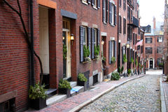 Beacon Hill, Boston. Beacon Hill is a wealthy neighborhood of Federal-style rowhouses, with some of the highest property values in the United States Stock Photos