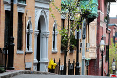 Beacon Hill, Boston. Beacon Hill is a wealthy neighborhood of Federal-style rowhouses, with some of the highest property values in the United States Royalty Free Stock Photo