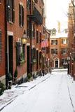 Beacon Hill est un voisinage riche des rowhouses de style fédéral, avec certaines des valeurs d'une propriété les plus élevées au image stock