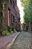 Beacon Hill, Historic Boston Street. Beacon Hill, early 19th century neighborhood Historic Boston narrow street with brick  Victorian and Georgian styles row Stock Photo