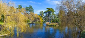Beacon Hill Park panorama during the spring in Victoria, Canada stock photo