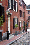 Beacon Hill is a wealthy neighborhood of Federal-style rowhouses, with some of the highest property values in the United States Royalty Free Stock Photo