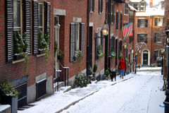 Beacon Hill is a wealthy neighborhood of Federal-style rowhouses, with some of the highest property values in the United States Royalty Free Stock Image