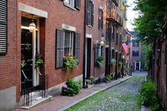 Beacon Hill is a wealthy neighborhood of Federal-style rowhouses, with some of the highest property values in the United States.  Stock Photo