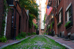 Beacon Hill is a wealthy neighborhood of Federal-style rowhouses, with some of the highest property values in the United States.  royalty free stock images