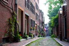Beacon Hill is a wealthy neighborhood of Federal-style rowhouses, with some of the highest property values in the United States.  Stock Photos