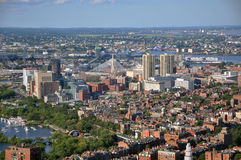 Beacon Hill and Zakim Bunker Hill Bridge, Boston Royalty Free Stock Photos