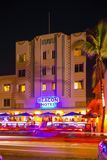 Beacon Hotel Miami Beach at night Royalty Free Stock Photos