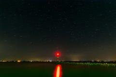 Beacon at Lake Balaton of Hungary. In the night Stock Photo