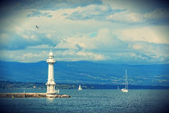 Beacon on the lake Leman Royalty Free Stock Image