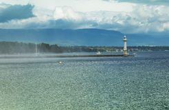 Beacon on the lake Leman in Geneva, Royalty Free Stock Photography