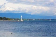 Beacon on the lake Leman Stock Photo