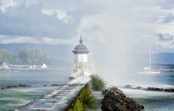 Beacon on the lake Leman in Geneva Royalty Free Stock Image