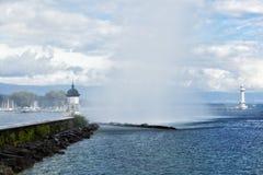 Beacon on the lake Leman in Geneva Royalty Free Stock Images