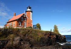 Beacon on Lake Superior Royalty Free Stock Photo