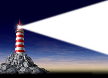 Beacon Of Light. As a business success symbol of leadership strategy and vision of a goal with a light house on a rock beaming a white directional light with a Stock Image