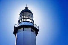 Beacon. Lighthouse beacon against blue sky with glow Stock Image