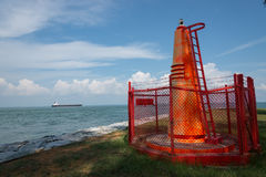 Beacon marking the island of Tembakul Stock Photography