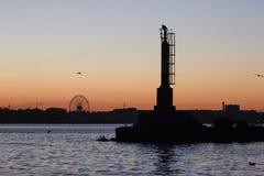 Beacon near port in the Azov Sea. Zaporizhzhia region, Ukraine Stock Photo