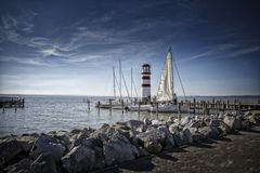 Beacon in Neusiedlersee at Sunset Royalty Free Stock Photography